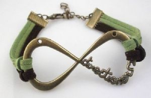 One Direction, Black and Green suede, antique brass colour bracelet
